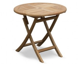 Lymington Teak Round Folding Garden Table - 80cm