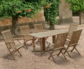 Byron 6 Seater Teak 1.5m Gateleg Dining Set with Newhaven Armchairs