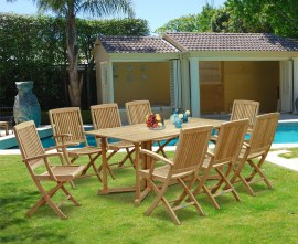 Byron 8 Seater Teak 1.8m Gateleg Dining Set with Palma Armchairs