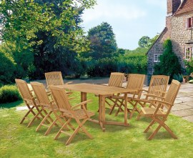 Byron 8 Seater Teak 1.8m Gateleg Dining Set with Cannes Armchairs