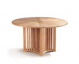 Richmond Teak Contemporary Round Garden Table - 1.3m