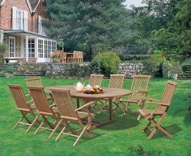 Oxburgh 8 Seater Teak 1.8-2.4m Extending Table with Newhaven Armchairs