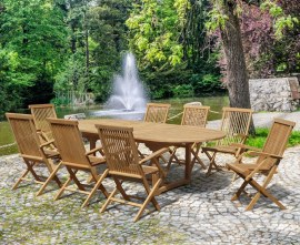 Oxburgh 8 Seater Teak 1.8-2.4m Extending Table with Newhaven Folding Armchairs