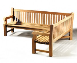 Gladstone Teak Outdoor Corner Bench - Right Orientation