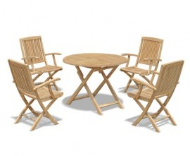 Lymington 4 Seater Round 1m Dining Set with Palma Folding Armchairs