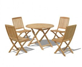 Lymington 4 Seater Round 1m Dining Set with Palma Folding Side Chairs
