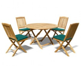 Lymington Round 1.2m Folding Dining Set with 4 Cannes Side Chairs