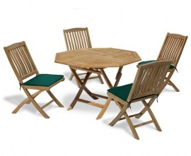 Lymington Octagonal 1.2m Folding Dining Set with 4 Cannes Side Chairs