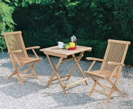 Rimini Square 0.7m Table & 2 Ashdown Armchairs