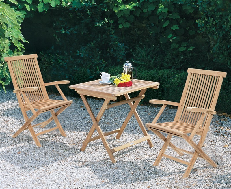 Palma 70cm Square Table with Newhaven Armchairs, 2 Seater Folding Set