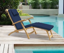 Serenity Teak Steamer Chair with Cushion