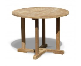 Sissinghurst Teak Round Garden Dining Table - 1m