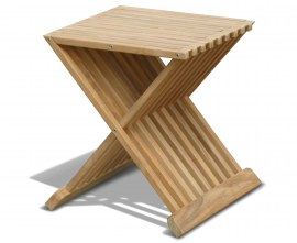 Lucia Teak Folding Side Table / Outdoor Footstool