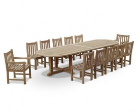 Winchester 13 Piece Large Teak Garden Dining Set with Oval Table