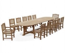 Winchester 12 Seater Large Oval Teak Outdoor Dining Table and Chairs