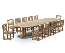 Large Outdoor Dining Table and Chairs Set
