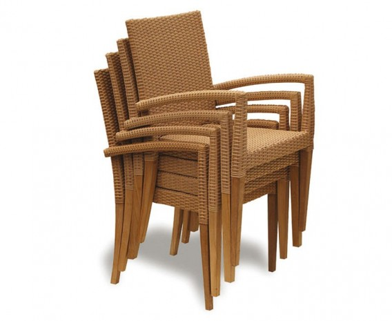 Hampton 4 Seater Teak Square Dining Set with St. Moritz Armchairs