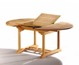 Extending Teak Table with 6 Folding Chairs