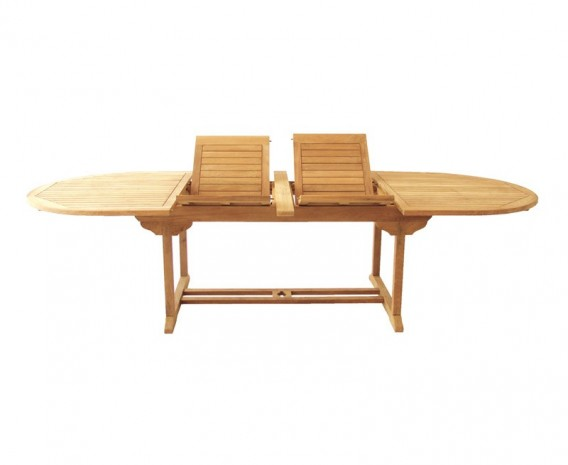 Oxburgh Teak Oval Extending Garden Table – 2-3m