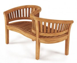 Teak Curved Jack and Jill Bench