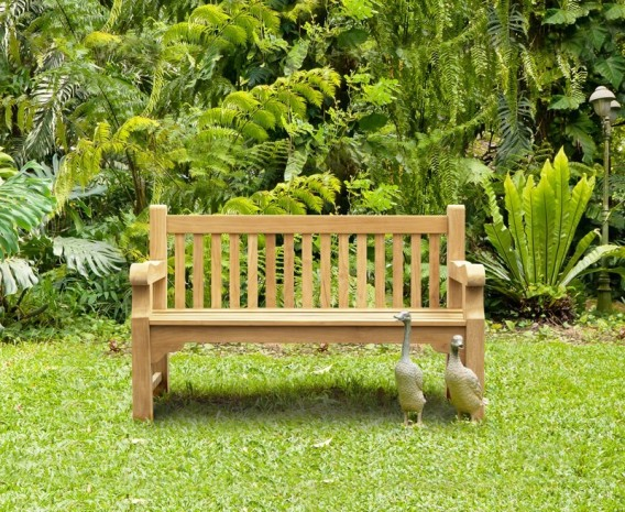 Gladstone Teak Rectangular 1.5m Table with Benches and Armchairs