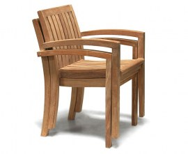 Antibes Stacking Armchairs Set with Winchester Oval Garden Table