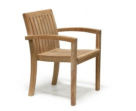 Winchester Teak Outdoor Dining Set with Antibes Stacking Armchairs