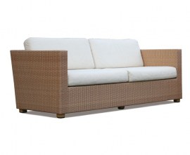 Synthetic rattan outdoor settee