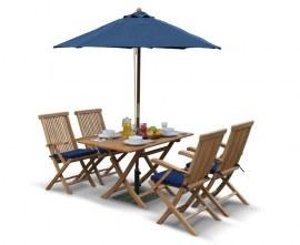 Rimini Rectangular 1.2m Table & 4 Ashdown Folding Armchairs