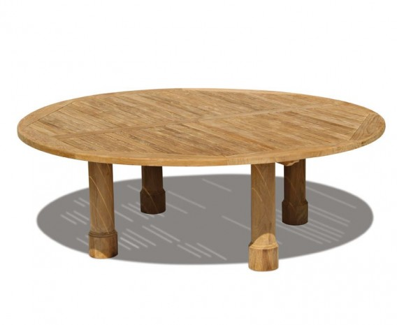 Orion Teak Round Garden Dining Table, Round Leg - 2.2m
