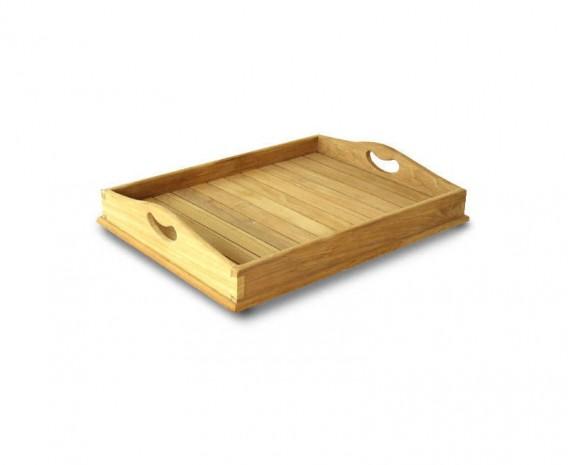 Teak Outdoor Serving Tray - Straight Slats