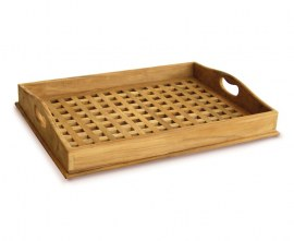 Teak Outdoor Serving Tray - Crossed Slats