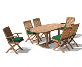 Brompton Bijou Extending 1.2 - 1.8m Table + 2 Bali Folding Armchairs & 4 Bali Folding Chairs