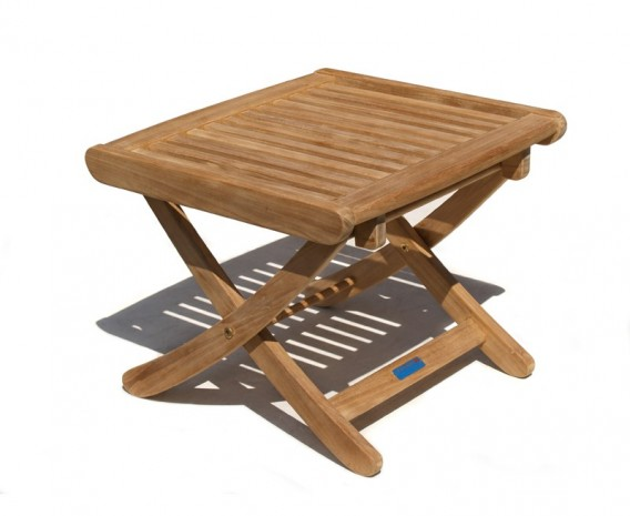 Cannes Adjustable Teak Footstool - Side Table