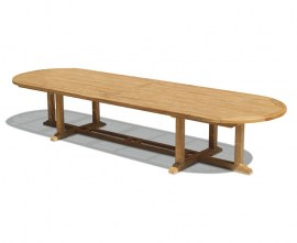 Winchester Oval Teak Outdoor Dining Table - 4m x 1.2m