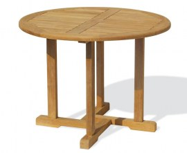 Sissinghurst Teak Round Garden Dining Table - 1.1m
