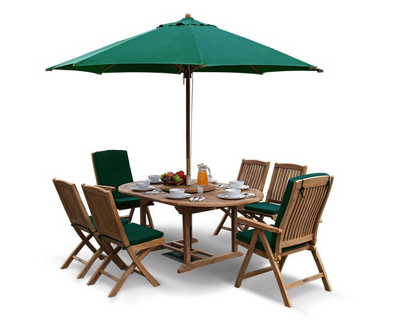 Oxburgh Single Leaf Extending Table with 6 Cannes Recliners & Chairs