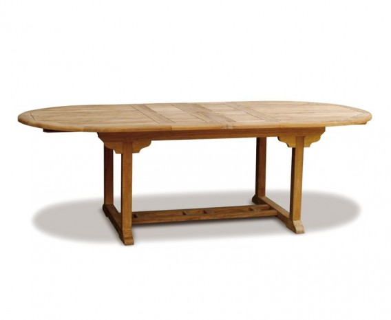Oxburgh Teak Double-Leaf Extending Outdoor Dining Table – 1.8-2.4m