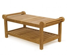 Lutyens-Style Teak Coffee Table with Shelf