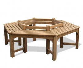 Teak Hexagonal Tree Bench - Low Back