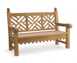 Churchill Teak Chippendale Bench - 1.5m