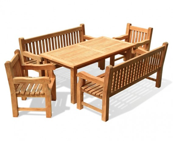 Gladstone Teak Rectangular 1.8m Table with Benches and Armchairs