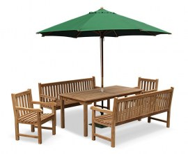 Hampton 10 Seater Rectangular Dining Set with York Benches and Chairs