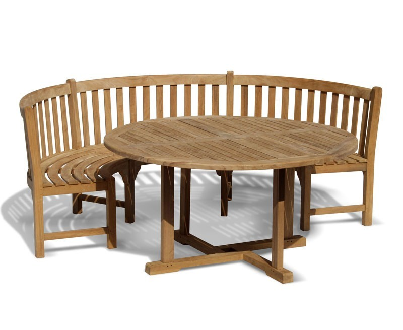 Sissinghurst 4 Seater Round 1.2m Dining Set with Marlow Bench