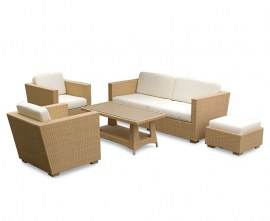 Verona Rattan Garden Sofa Set - Honey Wicker