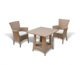 Verona 2 Seater Rattan Dining Set with 80cm Table - Flat Weave