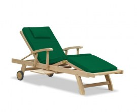 Luxury Teak Reclining Sun Lounger with Arms and Cushion