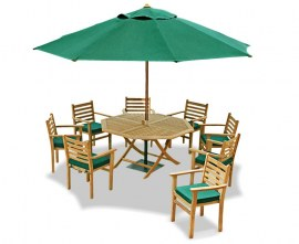 Lymington 8 Seater Octagonal 1.5m Dining Set with Sussex Armchairs