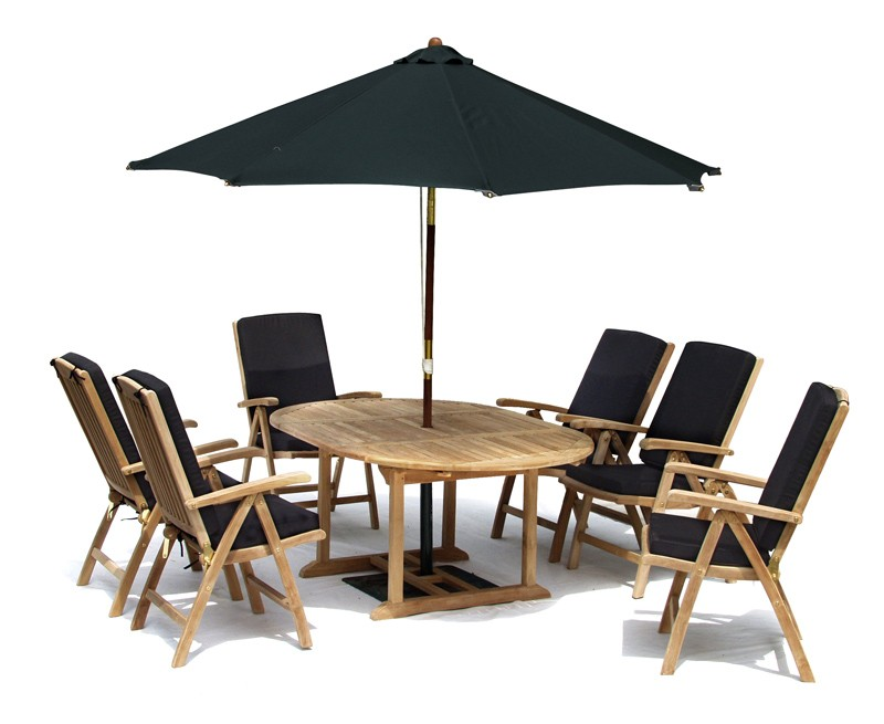 Oxburgh 6 Seater Single Leaf Extending Table with Tewkesbury Recliners