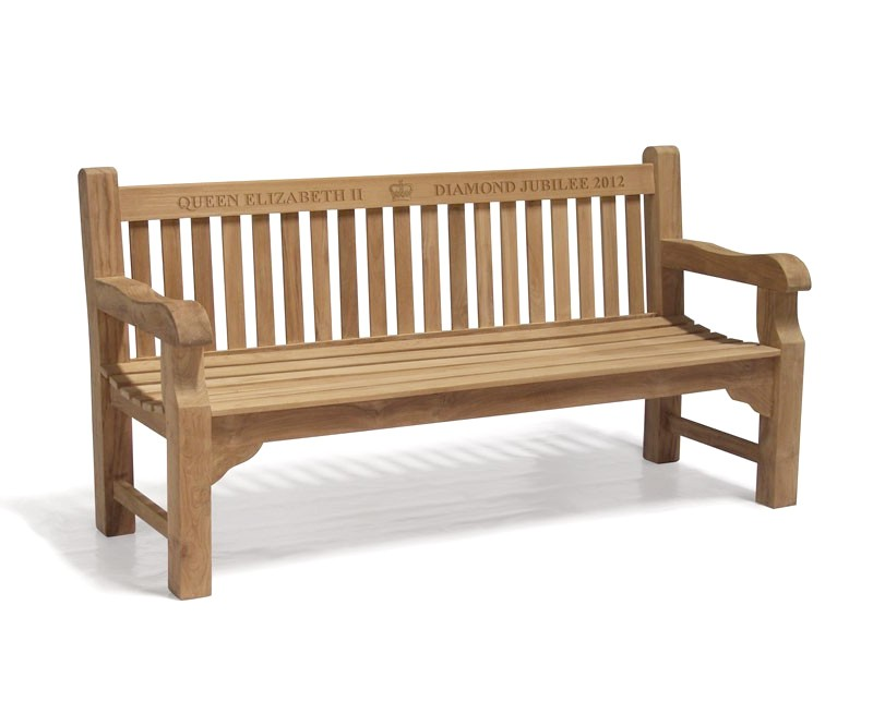 Gladstone Teak Queen's Diamond Jubilee Commemorative Bench - 1.8m
